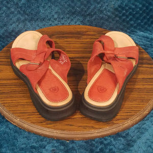 Women's Ariat Wedge Sandal Size 11 B | Red Leather
